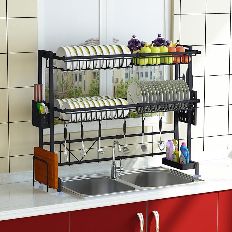Retractable stainless steel kitchen sink shelf Hang the bowl rack Dish chopsticks Wash dishes pool Draining rack organizer