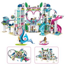 1039 pces o coração lago cidade resort modelo compatível com amigos blocos de construção tijolos brinquedos para crianças