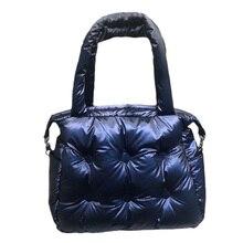 2019 torby zimowe podkładka kosmiczna bawełna puchowe torby na jedno ramię wyściółka Retro solidna torebka na co dzień kobiety wiadro torba