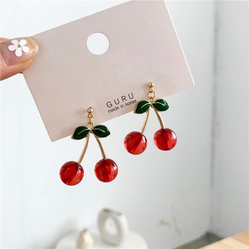 Модные темпераментные серьги с красными вишенками, милые женские маленькие серьги гвоздики|Серьги-гвоздики|   | АлиЭкспресс