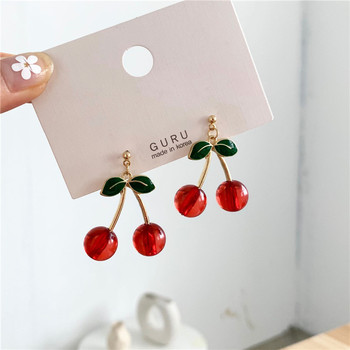 Fashion temperament contracted red cherry earrings woman sweet personality joker small stud earrings.jpg 350x350 - Fashion temperament contracted red cherry earrings woman sweet personality joker small stud earrings
