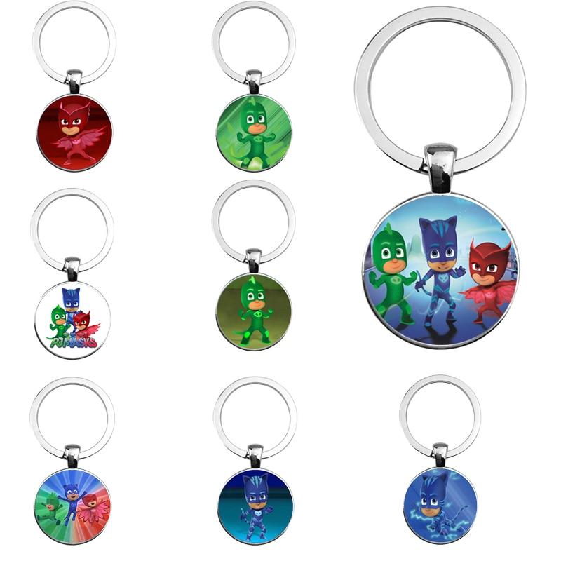 Pj Mask Juguete Time Gem Keychain Cartoon Accessories Pendant Catboy Owlette Gekko Toys PJ Masks Costume Decoration Keychain S59