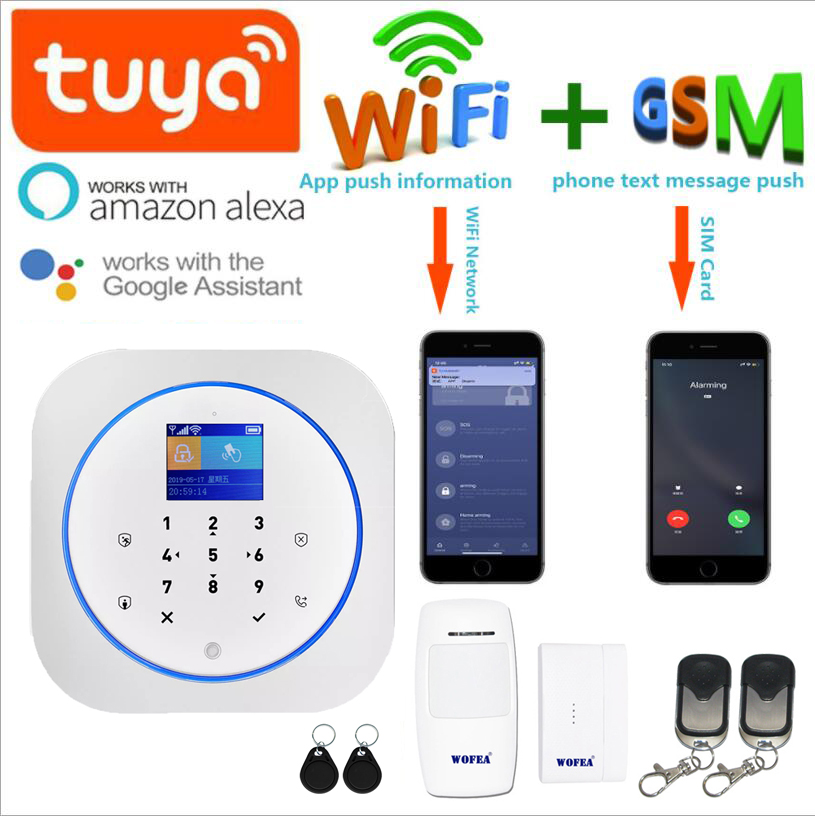 Wofea Wireless Wifi & GSM Alarm System RFID Tag Home Security Alarm Kit Tuyasmart APP Built In Siren