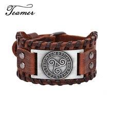 Teamer Vintage Celtics símbolo Triskel pulseras de Metal mujeres hombres cuero genuino brazalete Wicca runas amuleto joyería