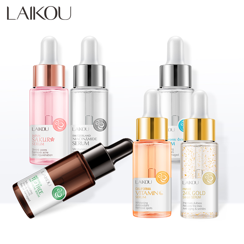 LAIKOU Sakura Face Serum Extract Shrink Pores Remove Acne Liquid Moisturizing Face Essence Hyaluronatic Vitamin C Face Skin Care