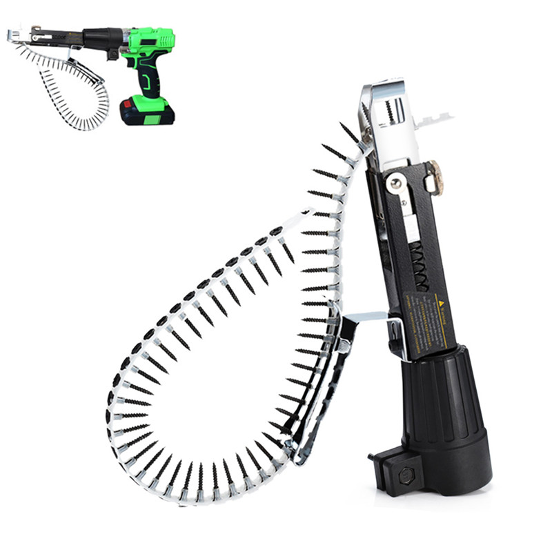 Automatic Screw Chain Nail Gun Adapter For Electric Drill Woodworking Tool Cordless Power Drill Attachment With 50 Screws