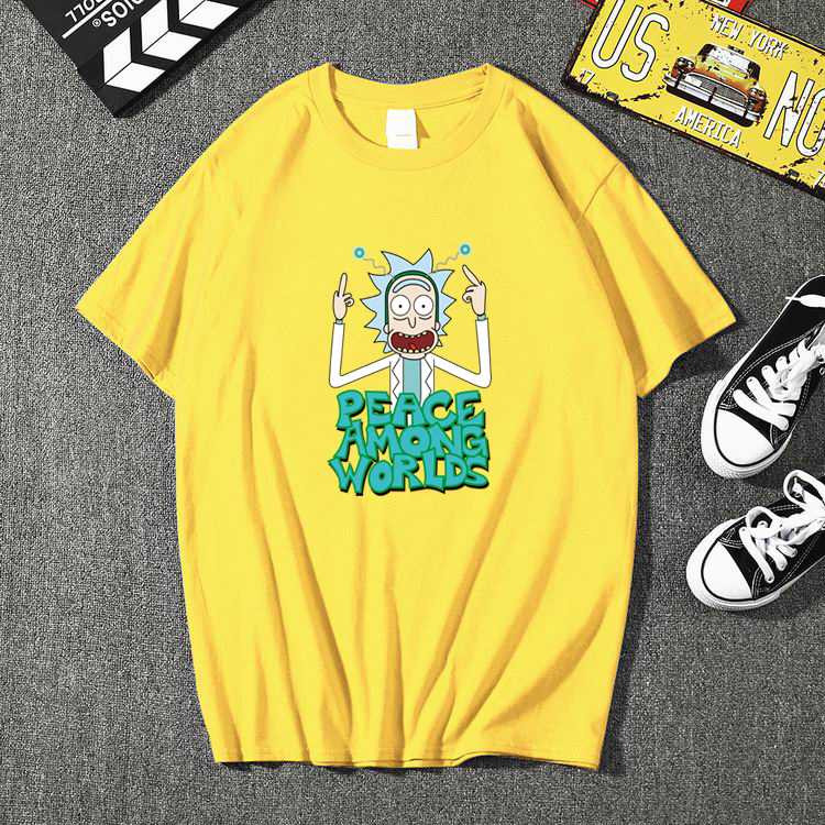Men's High Quality T-shirt Short Sleeve Cotton Crewneck Loose Rick And Morty Printed Men Tshirt Casual  Harajuku Mens T-shirt