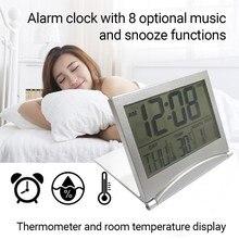 Alarm-Clock Weather-Station Temperature Desktop Digital Travel Date Lcd with Horloge