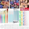 74 шт. набор инструментов для точек с мандалой, точечные ручки, кисть, акриловые стержни, Цветная кисть для дизайна ногтей, для рисования камн...
