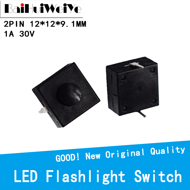 20PCS Flashlight Button Switch 1A 30V CB-1212-112D 2Pin Ultra-Thin Middle of the feet 12 * 12 * 9.1mm self-locking switch ON OFF