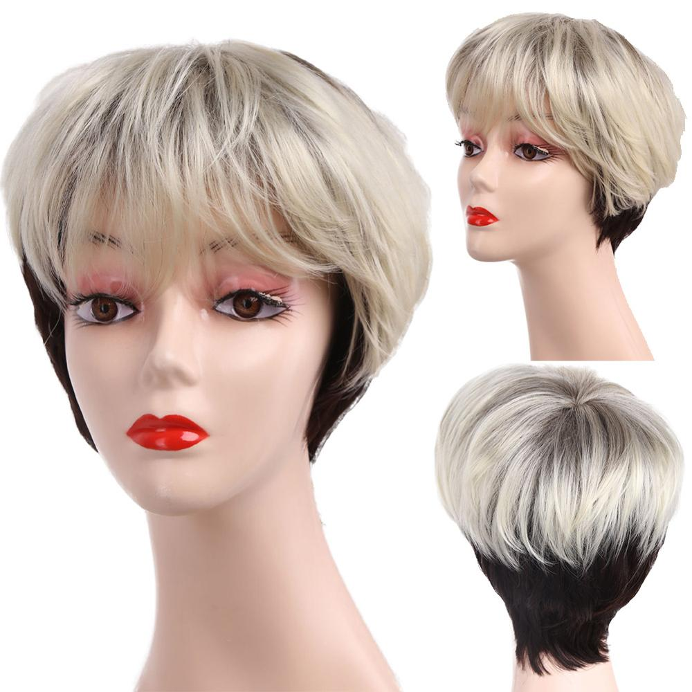 Amir Short Ombre blonde wig Synthetic Straight Hair Women's Wigs with bangs Brown Gray Hair wig cosplay for women