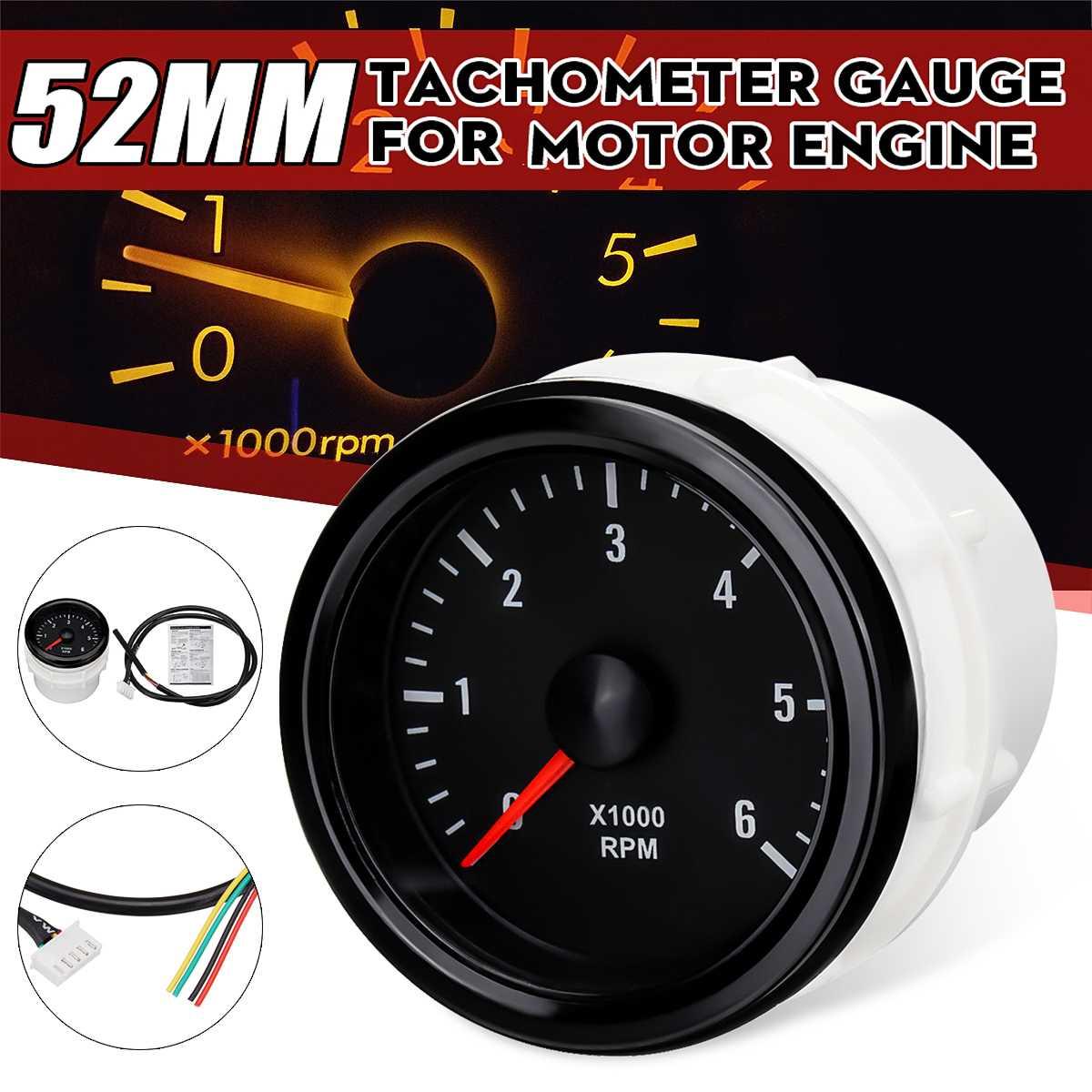 12 В Автомобильный Тахометр 52 мм белый Электрический Тахометр 0-6000 об/мин (на приборной панели) для дизельного двигателя