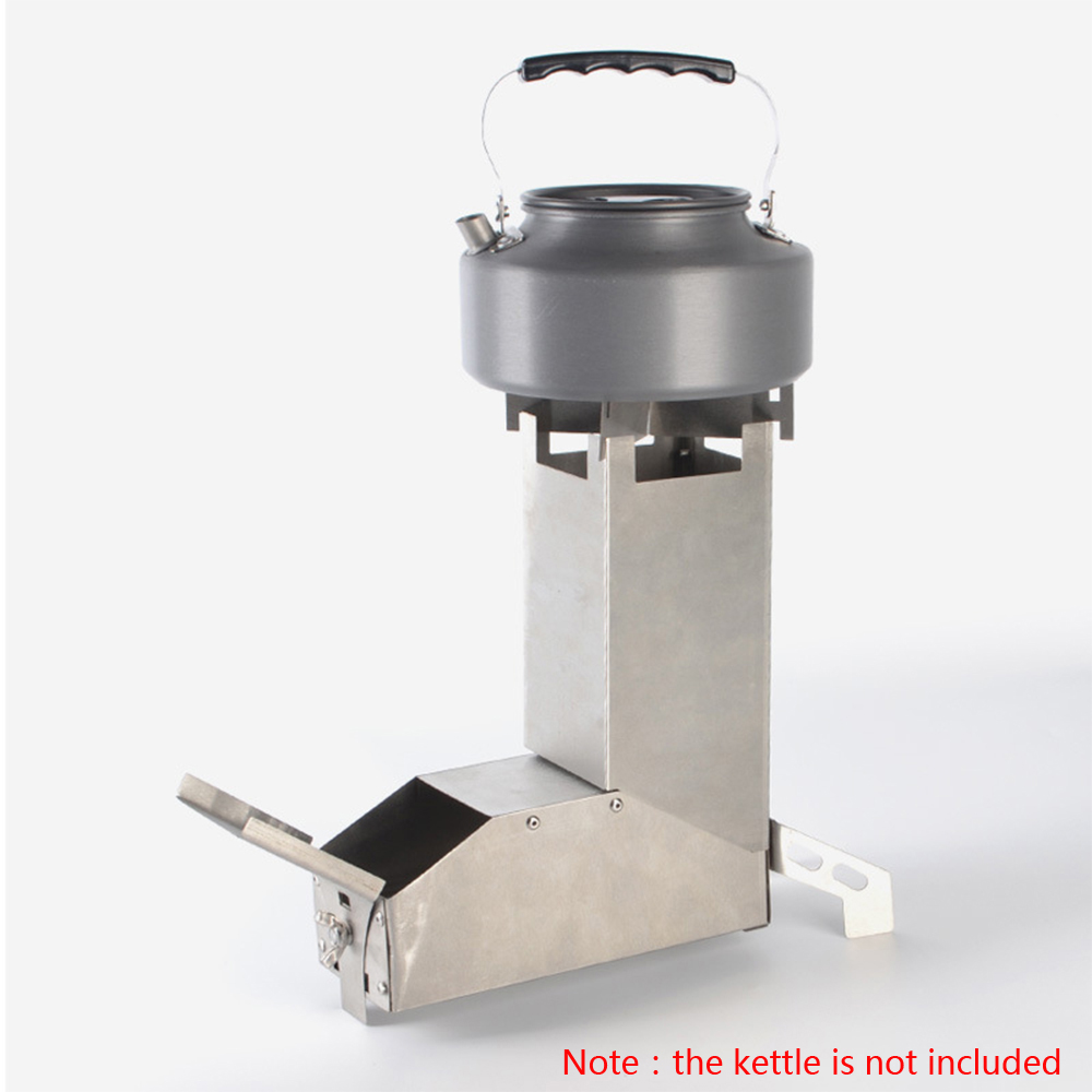 Outdoor Camping Stove Foldable Wood Burner Burning Stainless Steel Rocket Stove For Backpacking Tent Hiking Picnic