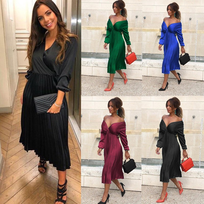 Elegant Pleated Satin Dress Women 2019 Autumn Off Shoulder Long Sleeve Ladies Casual Green Vestidos
