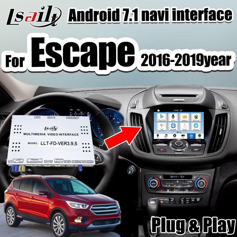 Android 7,1 video interface GPS Navigation box für Ford Escape Focus Kuga Edge-Explorer unterstützung ADAS , Carplay dongle
