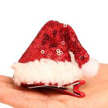 1 шт. Рождественская Шляпа заколка для волос Милая Красная шляпа Санта заколки для волос аксессуары для малышей Дети Девочки праздничное украшение