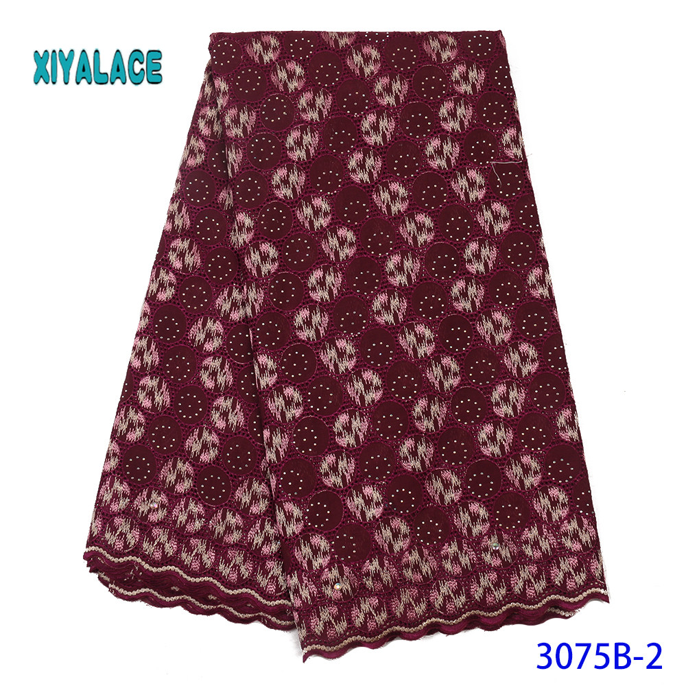African Lace Fabric High Quality Dress Fabric Nigerian Embroidery Printed Switzerland Lace Fabric Cotton For Party YA3075B-2