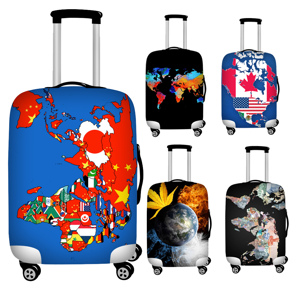 FORUDESIGNS Elastic Word Map Print Protective Luggage Suitcase Covers Waterproof 18''-32'' Trolley Trunk Case Covers Zipper