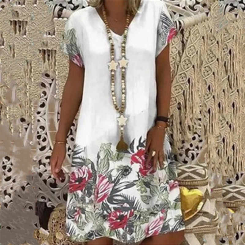 女性の夏のファッションカジュアル v ネック花柄ルーズ半袖プラスサイズホワイトレディースドレス 2020 新