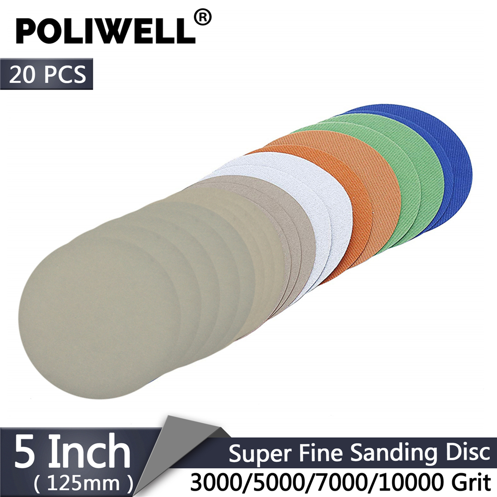 POLIWELL 20PCS 5 Inch 125mm Super Fine Sanding Discs Kit 3000/5000/7000/10000 Grit Wet And Dry Sandpaper For Wood Auto Polishing