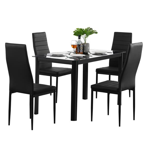 Black Rectangle Tempered Glass Dining Table+ 4pcs High Backrest Dining Chairs Nine Block Box Pattern For Kitchens Dining Room