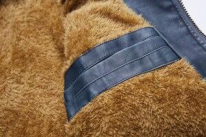 Image 5 - Kurtki skórzane męskie 2019 zimowe kurtki PU gruby polar ciepła skórzana kurtka marki odzież męska Street kurtka vintage Costume