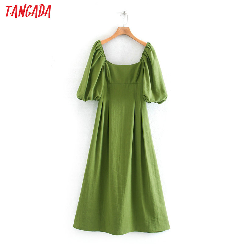Tangada Fashion Women Vintage Green Maxi Dress Puff Short Sleeve Ladies Summer Long Dress Vestidos 2XN13