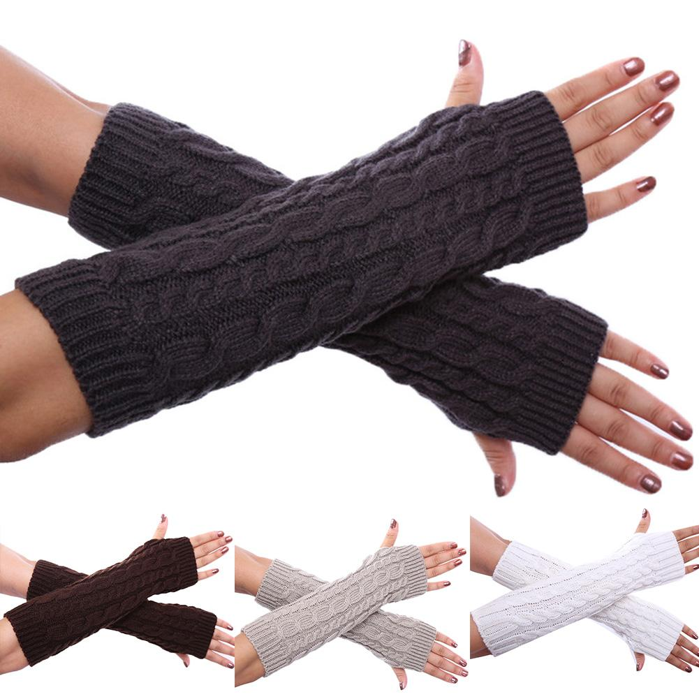 Women Winter Solid Color Knitted Twist Fingerless Thumb Hole Gloves Arm Warmers New