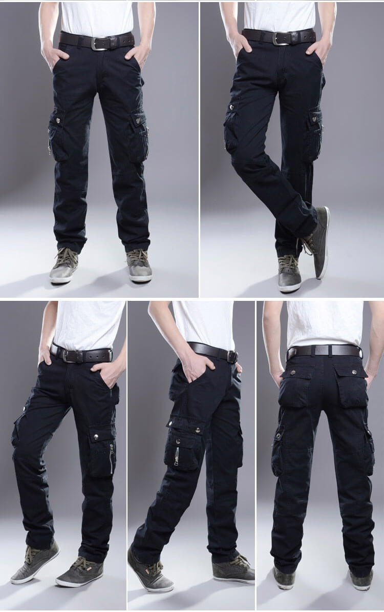 Cargo Pants Men Straight 100% Cotton Baggy Zippers Designer Multi-Pockets Overalls Men's Casual