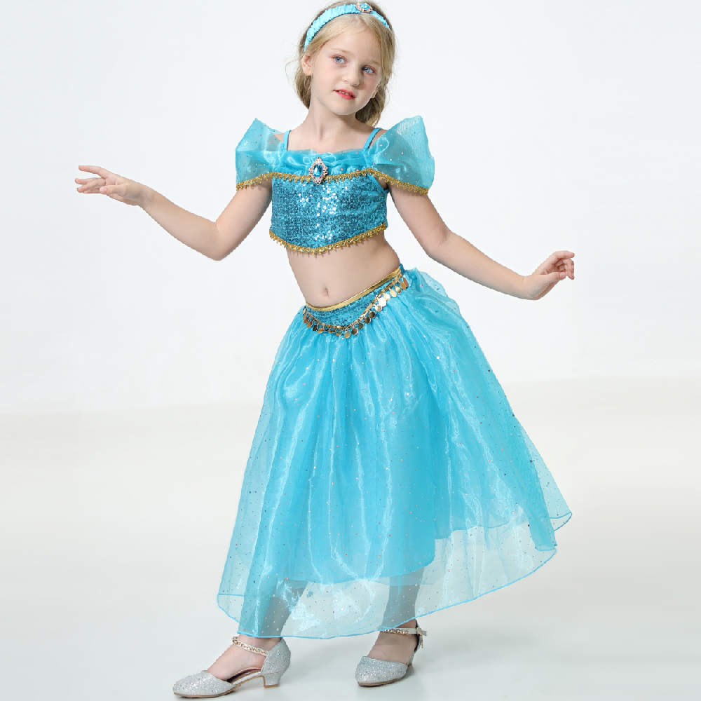 Image 5 - 2019 Movie Girls Kid Summer Jasmine Princess Dance Dress Children Aladdin Halloween Party Performance Costume Top Skirt Pant Set-in Girls Costumes from Novelty & Special Use