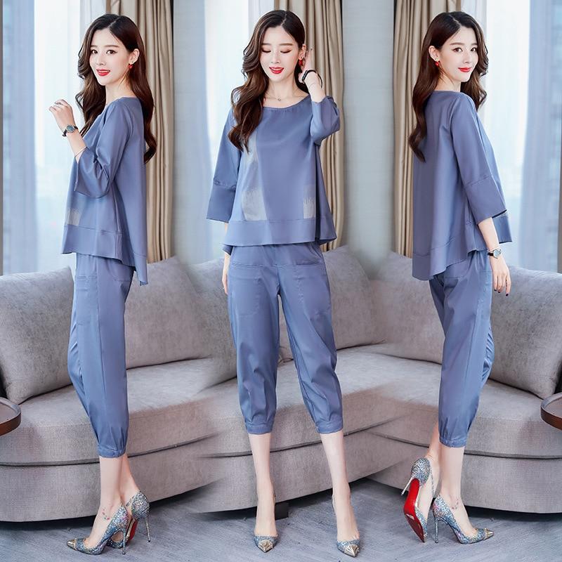 Fashion Elegant Solid Color Simple 2019 Korean-style Elegant Loose-Fit Three-quarter-length Sleeve Set