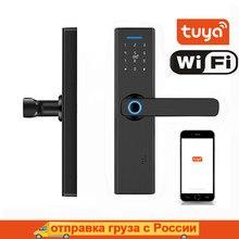 Tuya serrure de porte intelligente WIFI serrure intelligente serrure de porte d'empreintes digitales, mot de passe, serrure de porte de carte à puce, APP à distance Fechadura serrure de porte numérique