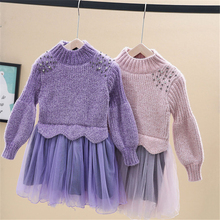 Осенне-зимнее винтажное платье для девочек модное праздничное свадебное платье с цветочным узором для девочек на свадьбу, платье принцессы с длинными рукавами для девочек