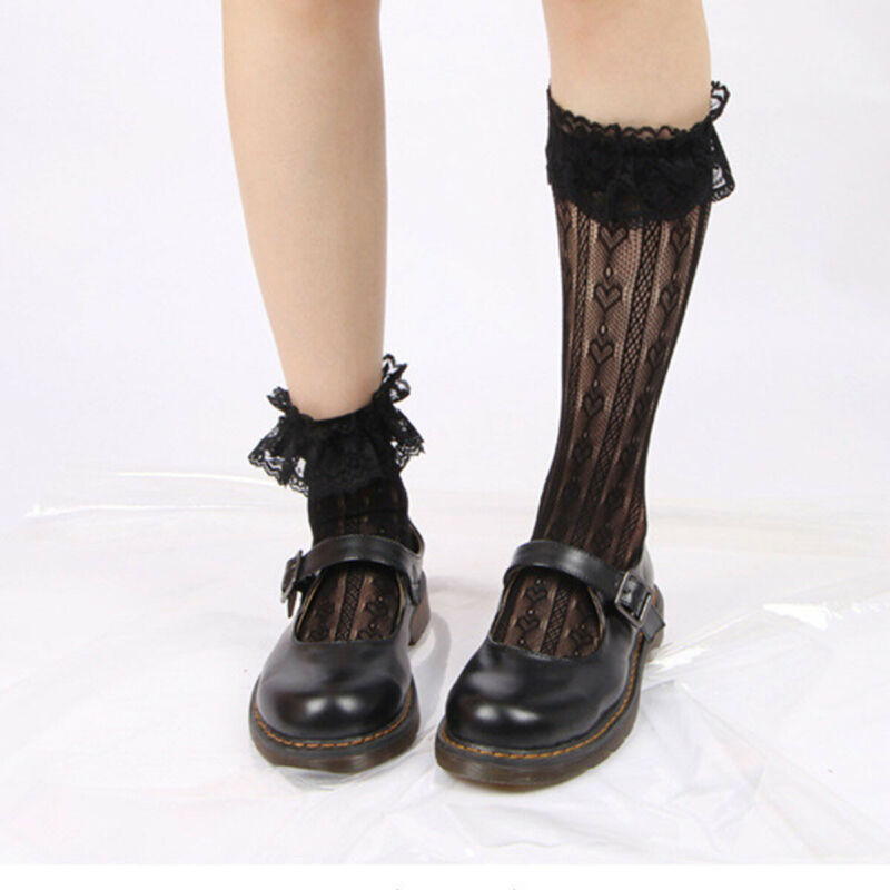 Fashion Lolita Gothic Calf Ankle Knee Ruffle Women Girl Sexy Lace Socks Stocking Size 4 -6Y