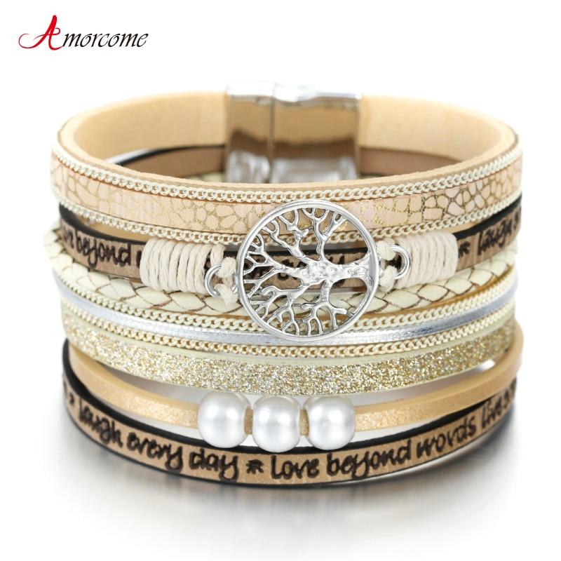 Amorcome Tree Of Life Women Leather Bracelet Jewelry Ladies Fashion Multilayer Bohemian Wrap Wide Bracelets & Bangles|Wrap Bracelets|   - AliExpress