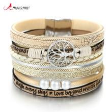 Amorcome Tree Of Life Women Leather Bracelet Jewelry Ladies Fashion Multilayer Bohemian Wrap Wide Bracelets & Bangles