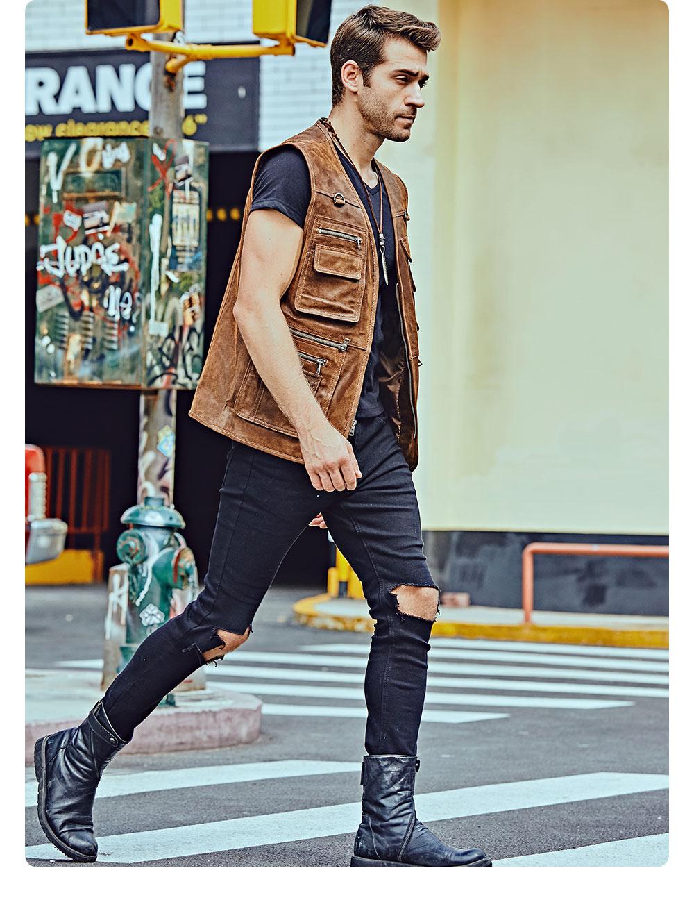 H512028eb9606498b94a77d8d7fd771f6b FLAVOR New Men's Real Leather Vest Men's Motorcycle Fishing Outdoor Travel Vests