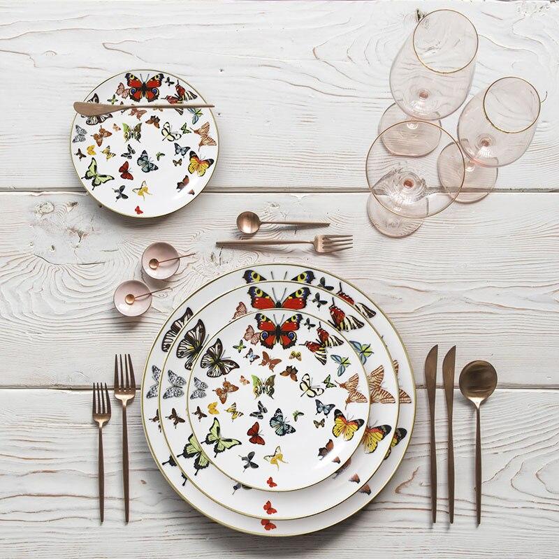 Plateau de table vaisselle en céramique | Plateau à bord doré assiette Plate, assiette à gâteau vaisselle papillon créative blanche, os assiette en chine 1 pièces