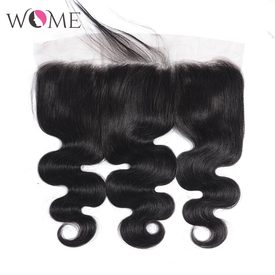WOME Hair 13X4 Body Wave Lace Frontal Brazilian Human Hair Lace Frontal Closure Natural Color 10-20 Inches Remy Hair