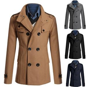 Men Long Sleeve Lapel Collar Double-breasted Pockets Woolen Slim Trench Coat New Solid Color High Quality Men Clothing