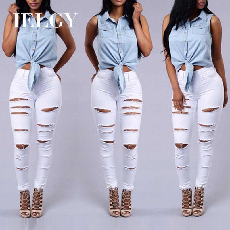 Ielgy Pantalones Vaqueros Rotos De Cintura Alta Para Mujer Ajustados A La Moda Blanco Rebelde Comodos Pantalones Vaqueros Aliexpress