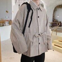 Autumn New Woolen Jacket Men Fashion Contrast Color Striped Casual Jacket Coat Man Streetwear Wild Hip Hop Loose Bomber Jacket men contrast binding striped tee