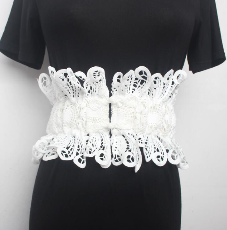 Women's Runway Fashion Elastic Lace Cummerbunds Female Dress Coat Corsets Waistband Belts Decoration Wide Belt 2195