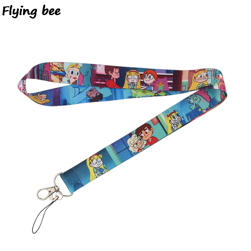 Flyingbee Star Vs The Forces Of Evil Lanyard Phone Rope Keychain Phone Lanyard For Keys ID Card Cartoon Lanyards For Women X0462