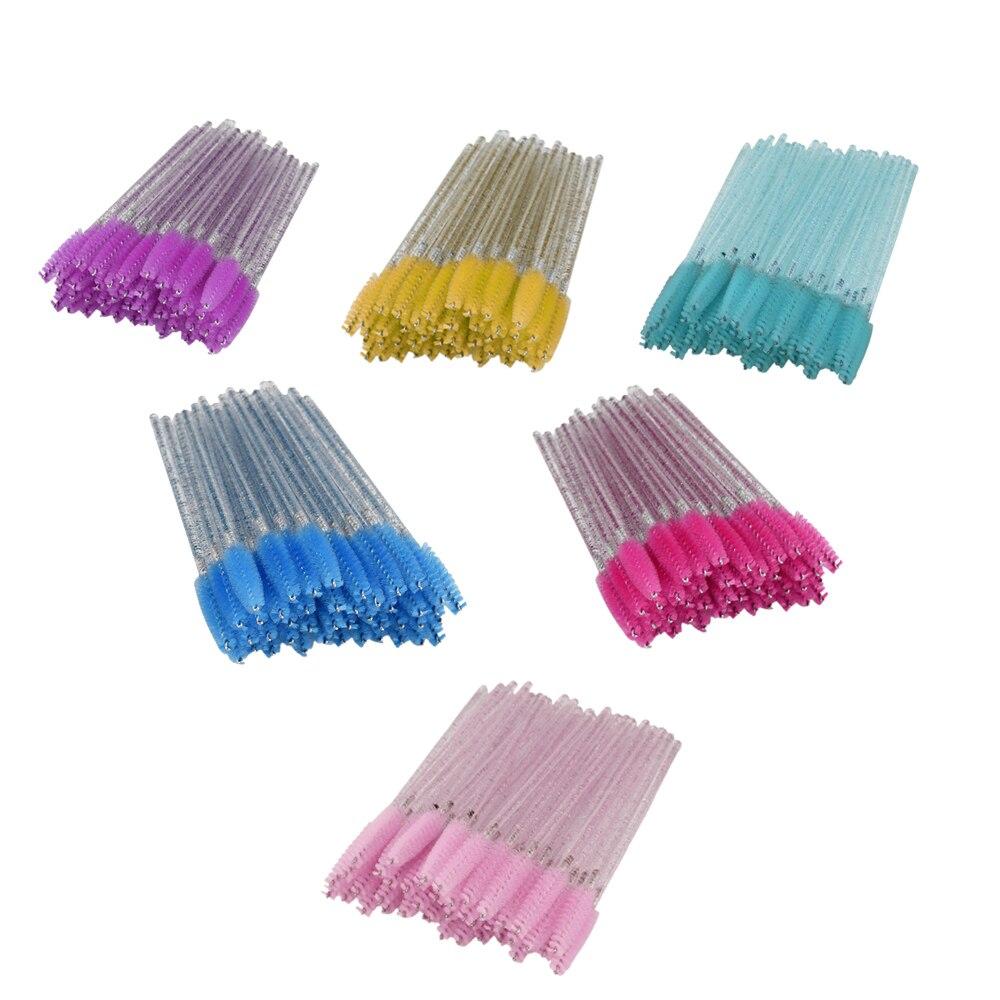 50pcs Shiny Disposable Eyelash Applicator Wand Curler Brush Set Mascara Eyebrow Spoolers Comb Wands Spoolies Brushes Makeup Tool