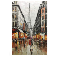 Hand Painted Paris Tower Canvas Wall Art Abstract Couple Painting Vertical Paris Artwork for Home Wall Pictures