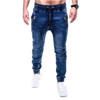 Men's Jeans Men's Elasticated Wash Denim Casual Sport Pencil Pants Europe and The United States Jeans men s personality painted jeans on the streets of europe and the united states men s pierced straight tube distressed jeans