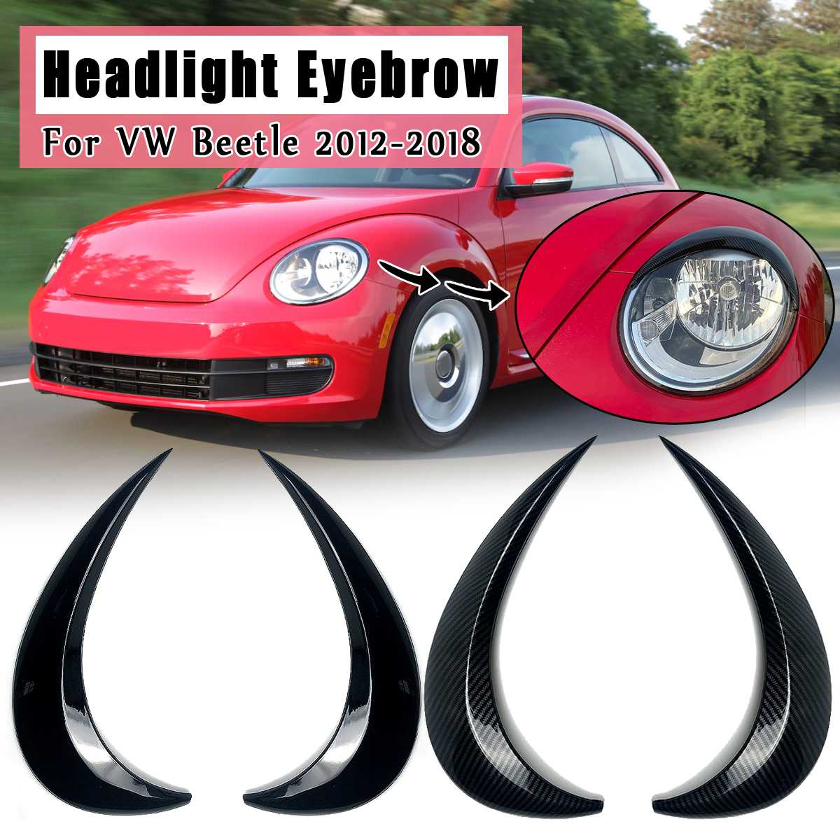 Car Headlight Eyebrow Eyelids ABS Stickers Trim Cover For VW for Beetle 2012 2013 2014 2015 2016 17 2018 Car styling Accessories