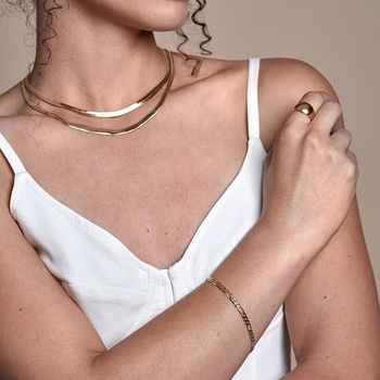 Double Layer Charm Women Snake Chain Choker Necklace Gold Silver Color Flat Herringbone Chokers Link For Girls 4mm Collier Femme 2