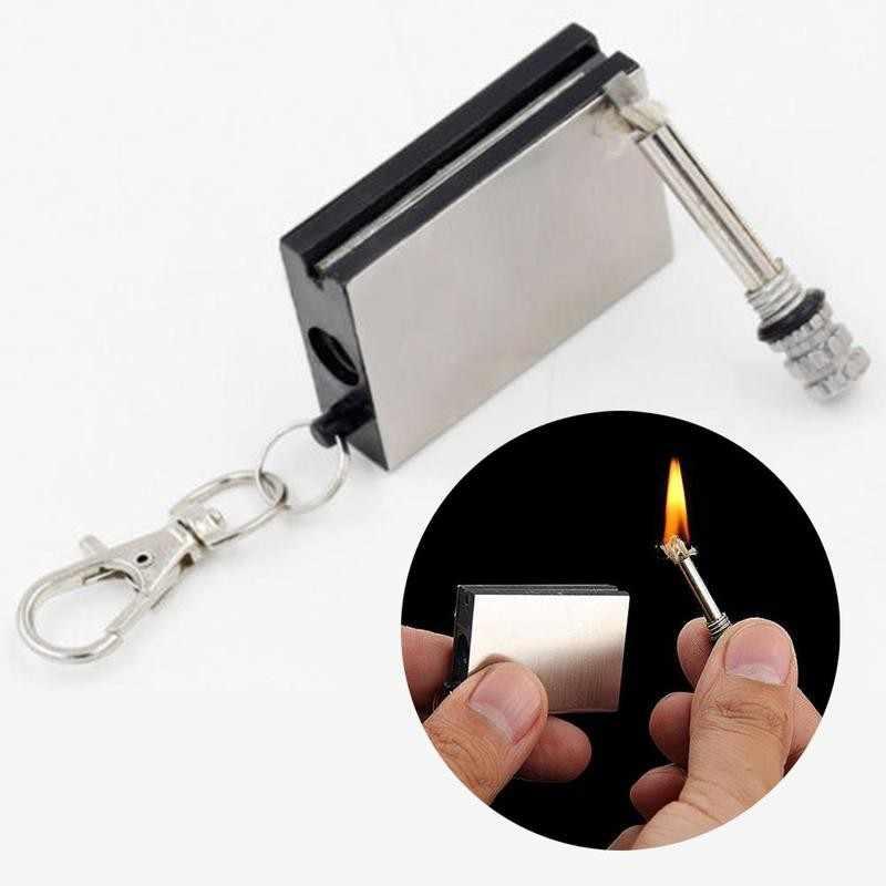1pc常設ライター円筒ステンレス鋼はキーリングライター防水シガーアクセサリー常設ライター